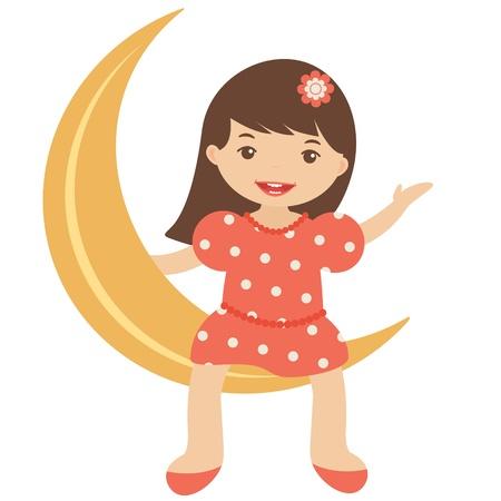 little girl sitting: Illustration of Little girl sitting on the moon Illustration