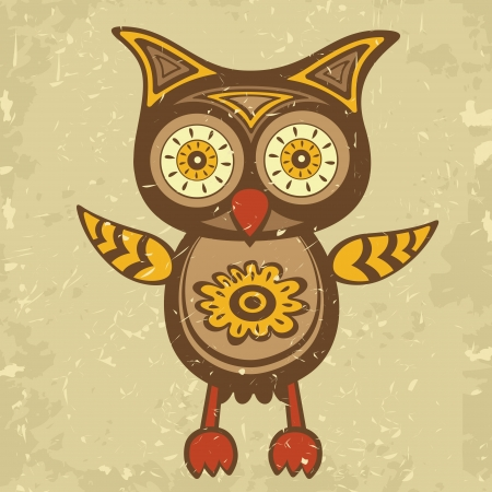Illustration of decorative retro style owl Illustration