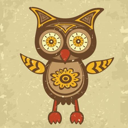 grunge wings: Illustrazione di stile decorativo retr� gufo Vettoriali
