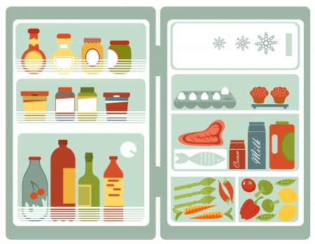 home product: Illustration of refrigerator full of food and drinks Illustration