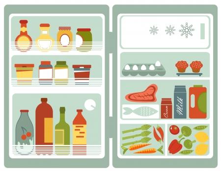Illustrazione del frigorifero pieno di cibo e bevande