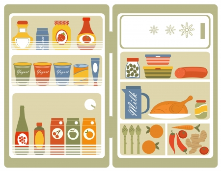 Illustration of Refrigerator with food and drinks