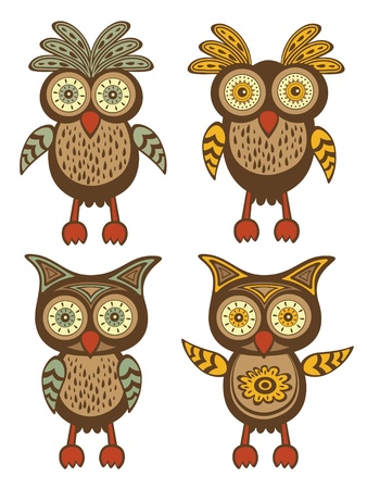 owl illustration: A cute colorful owls collection
