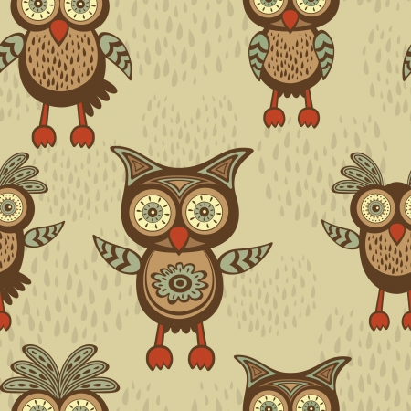 Cute decorative owls  seamless pattern Vector