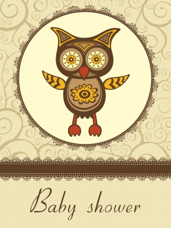 Colorful baby shower card with cute owl Vector