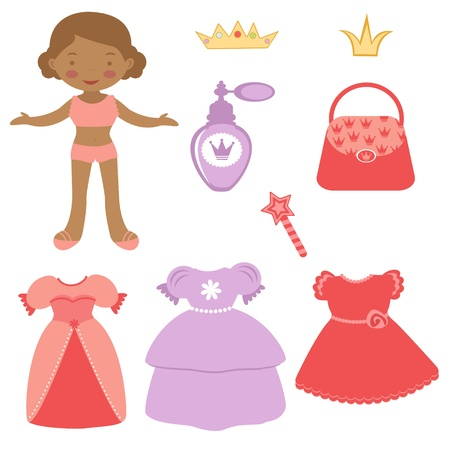 paper dresses: Illustration of Cute African - American paper doll