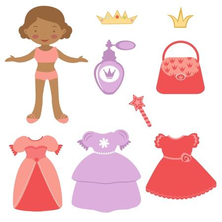 Illustration von Cute African - American paper doll