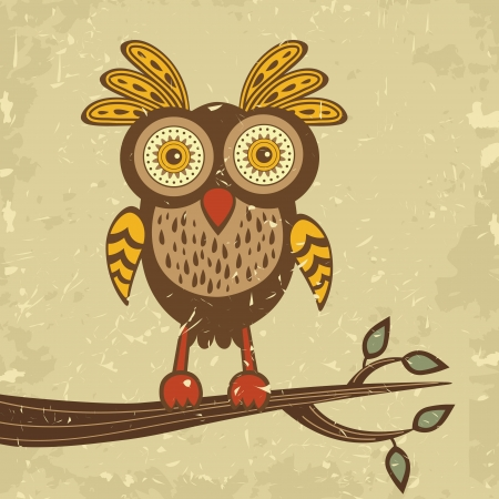 Illustration of beautiful retro style owl Vector