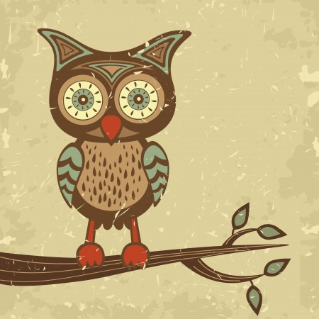 Illustration of cute retro style owl sitting on branch
