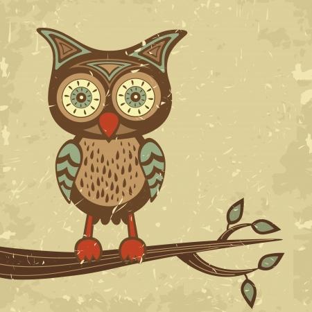 grunge wings: Illustrazione di carino in stile retr� gufo seduto su un ramo Vettoriali