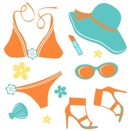 swimsuit: A colorful Summer woman fashion set Illustration