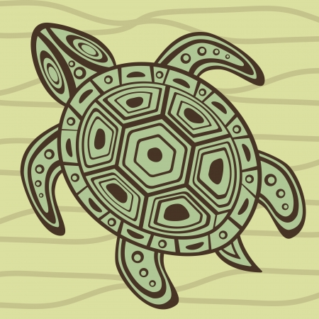 Illustration of sea turtle swimming Vector
