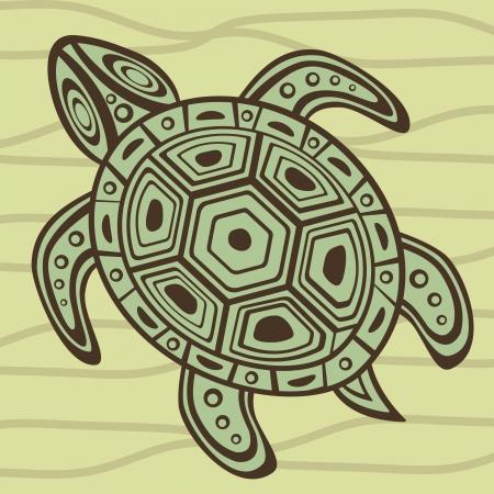ancient turtles: Illustration of sea turtle swimming