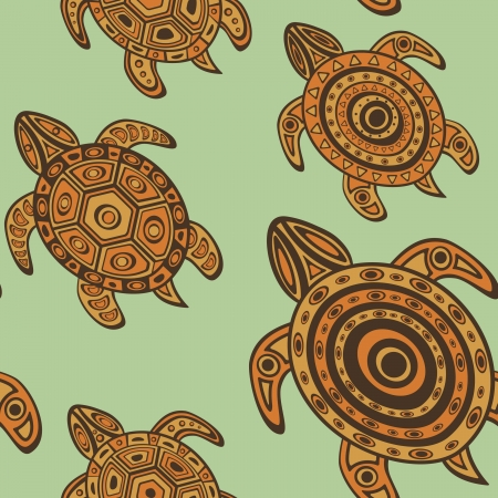 ancient turtles: Colorful seamless background with sea turtles