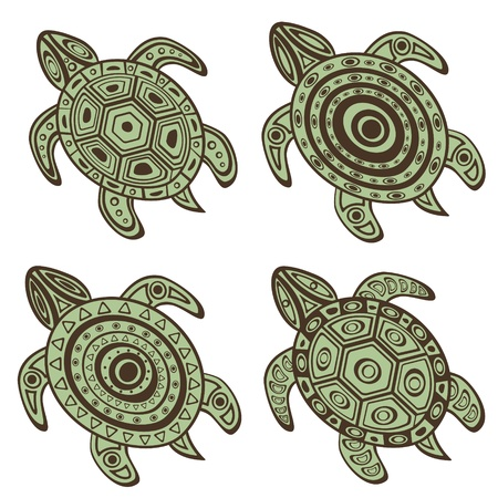 Beautiful Collection of decorative turtles Vector