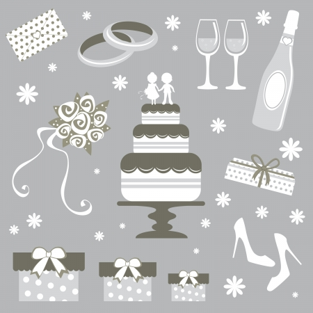 wedding cake: An illustration of wedding related elements Illustration