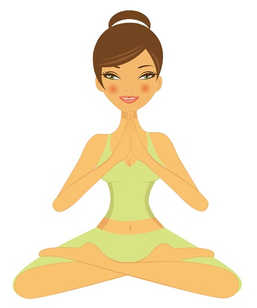 women yoga: Illustration of beautiful girl doing yoga
