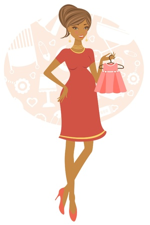 chic woman: Illustration of African American pregnant woman shopping for her baby