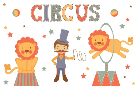 Illustration of tamer and lions performing in circus Vector