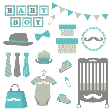 Little man baby shower related items collection Vector