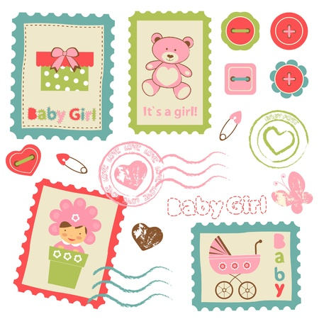 Cute collection of Baby girl announcement postal stamps Vector