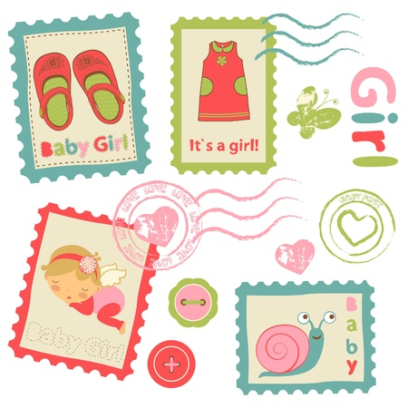 Colorful collection of baby girl announcement postal stamps Illustration