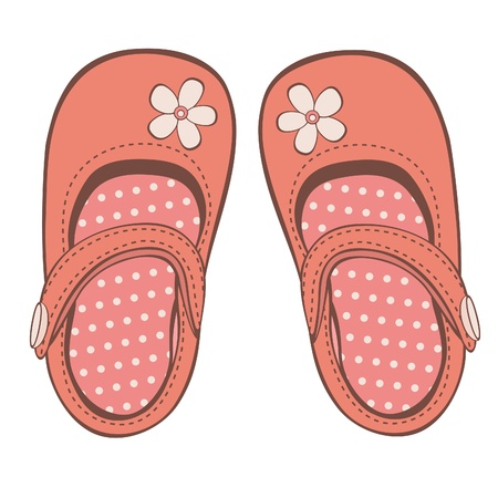 lovely girl: Ilustraci�n de hermosos zapatos de ni�a, Vectores