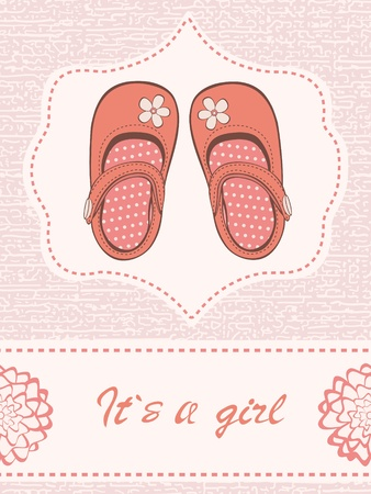 baby announcement card: Beautiful baby girl announcement card with beautiful shoes. Vector format