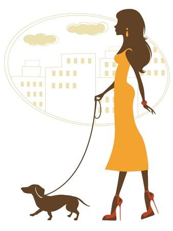 dog walking: Illustration of beautiful woman walking with dachshund