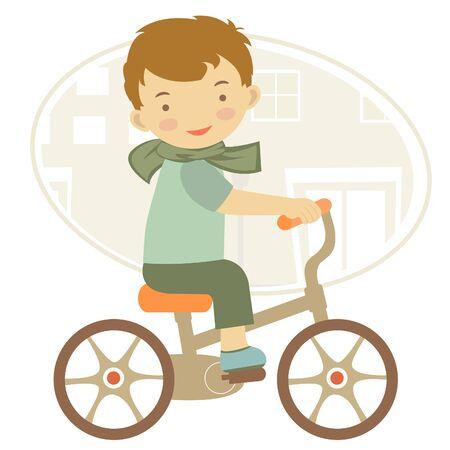 bike riding: Illustration of Little boy on bicycle