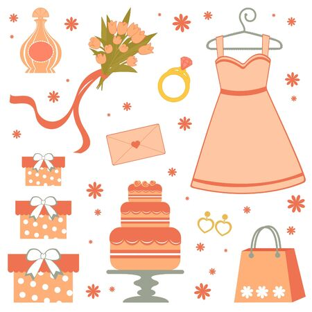 Beautiful bridal shower items Vector