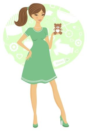 pregnancy woman: Illustration of chic pregnant woman holding teddy bear Illustration