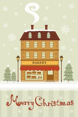 bakery shop: Cute little bakery shop  Christmas card Illustration
