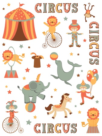 circus performers: Colorful illustration of tent circus