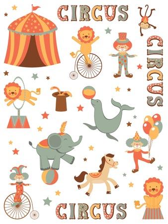 circense: Ilustraci�n colorida de una carpa de circo