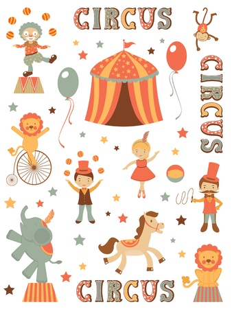 juggler: Cute tent circus illustration