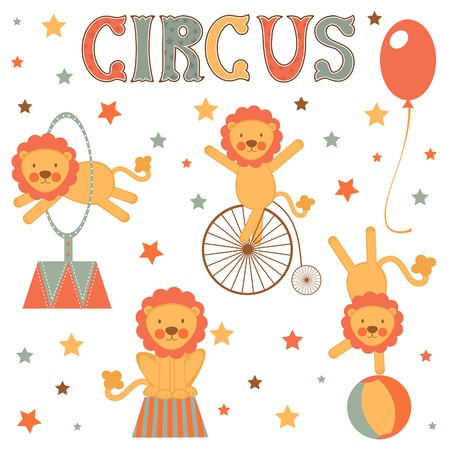 Cute circus lions colorful collection Vector