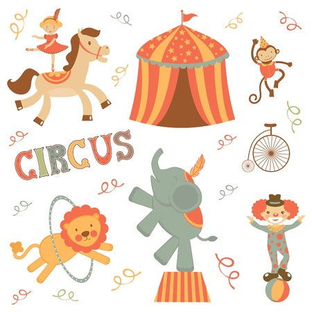 Cute retro style circus set Stock Vector - 19876747