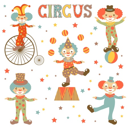 circus performer: Colorful illustration of etro style clowns