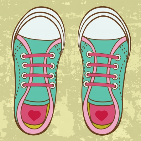 sport shoes: An illustration of colorful toddler girl trainers