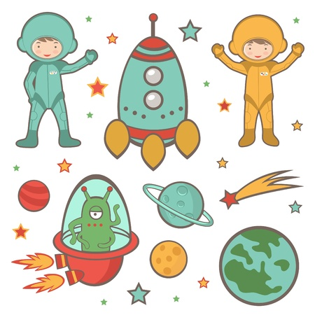 Cute colorful outer space collection Vector