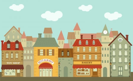 Illustration of Cute little city Vector