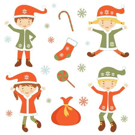 helpers: Illustration of Cute Santa helpers Illustration