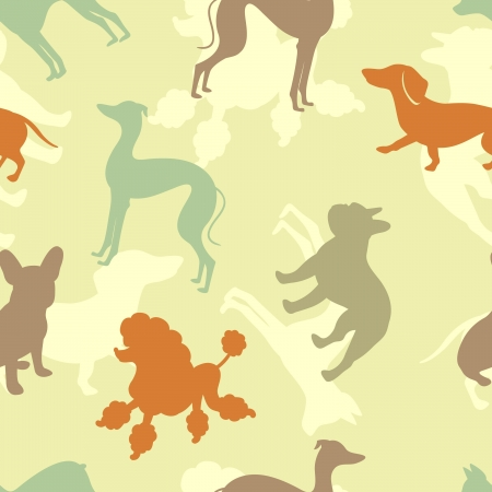 Various dogs seamless pattern Vector