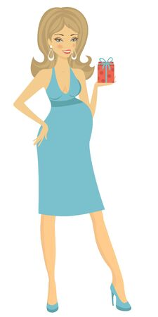 pregnant mom: Illustration of Beautiful mom-to-be holding little gift box