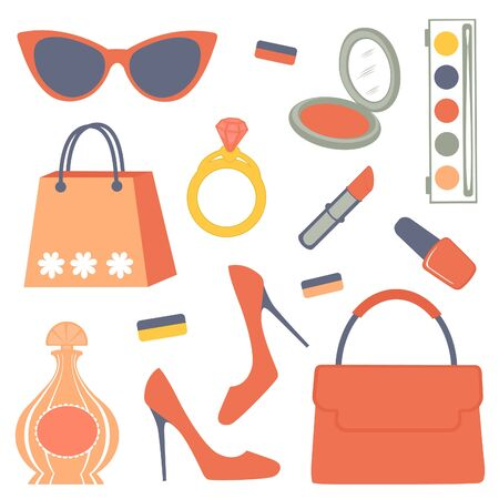 Stylish composition of women related items Vector