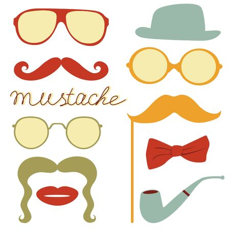 hair tie: Colorful mustache party elements collection Illustration