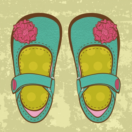 Fashionable  baby girl shoes on grungy background Stock Vector - 19876801