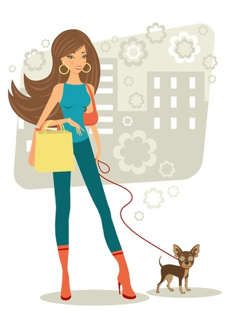 Beautiful woman shopping with her toy terrier Vector