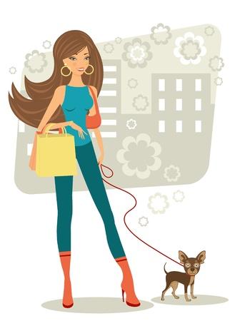 shoppen: Sch�ne Frau beim Einkaufen mit ihrem Spielzeug terrier